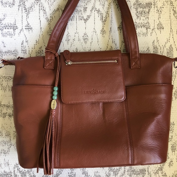 7c9634ec523e Lily Jade Madeline in Brandy and Silver Diaper Bag